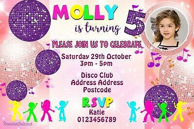 UV Neon Disco Birthday Party Invitations for Boy or Girl Dance Glow Personalised