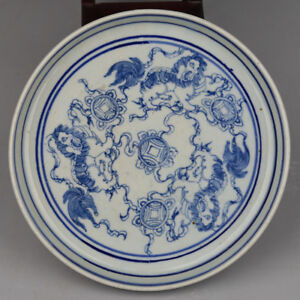 Chinese Ming Dy Blue/&white porcelain Hand-painted *elephant//People* Plate