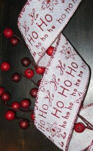 image is loading 5 yds ho ho ho wired burlap ribbon