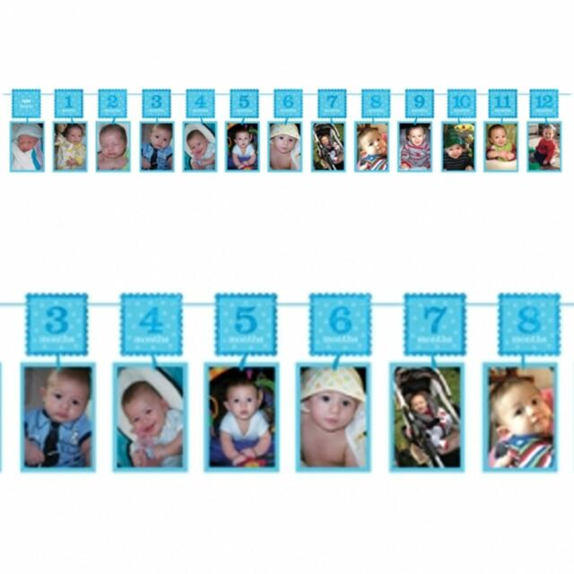 1st Birthday Blue Glitter Photo Garlands Boys Monthly Photo Glitter Banner Hang