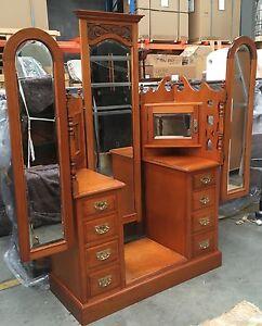 Antique Art Nouveau Triple Mirror Winged Dressing Table