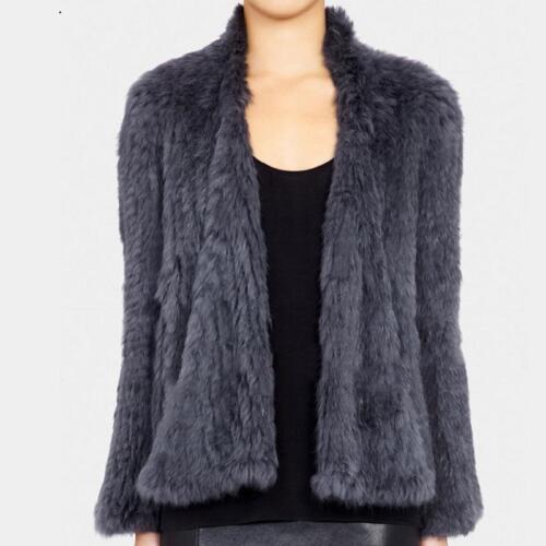 pelliccia Capo D2 Coat Genuine Slim Jacket vera Womens Outwear Knit Ladies Warm 100 q0I4RH