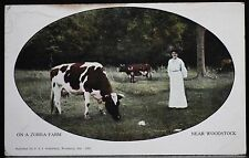 "WOODSTOCK, Ontario ""ON A ZORRA FARM - Near Woodstock"" - Lady with Cows - 1911"