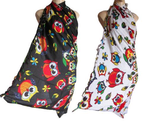 new swim-wear summer holiday fringed OWL PRINT sarong scarf beach wrap pareo