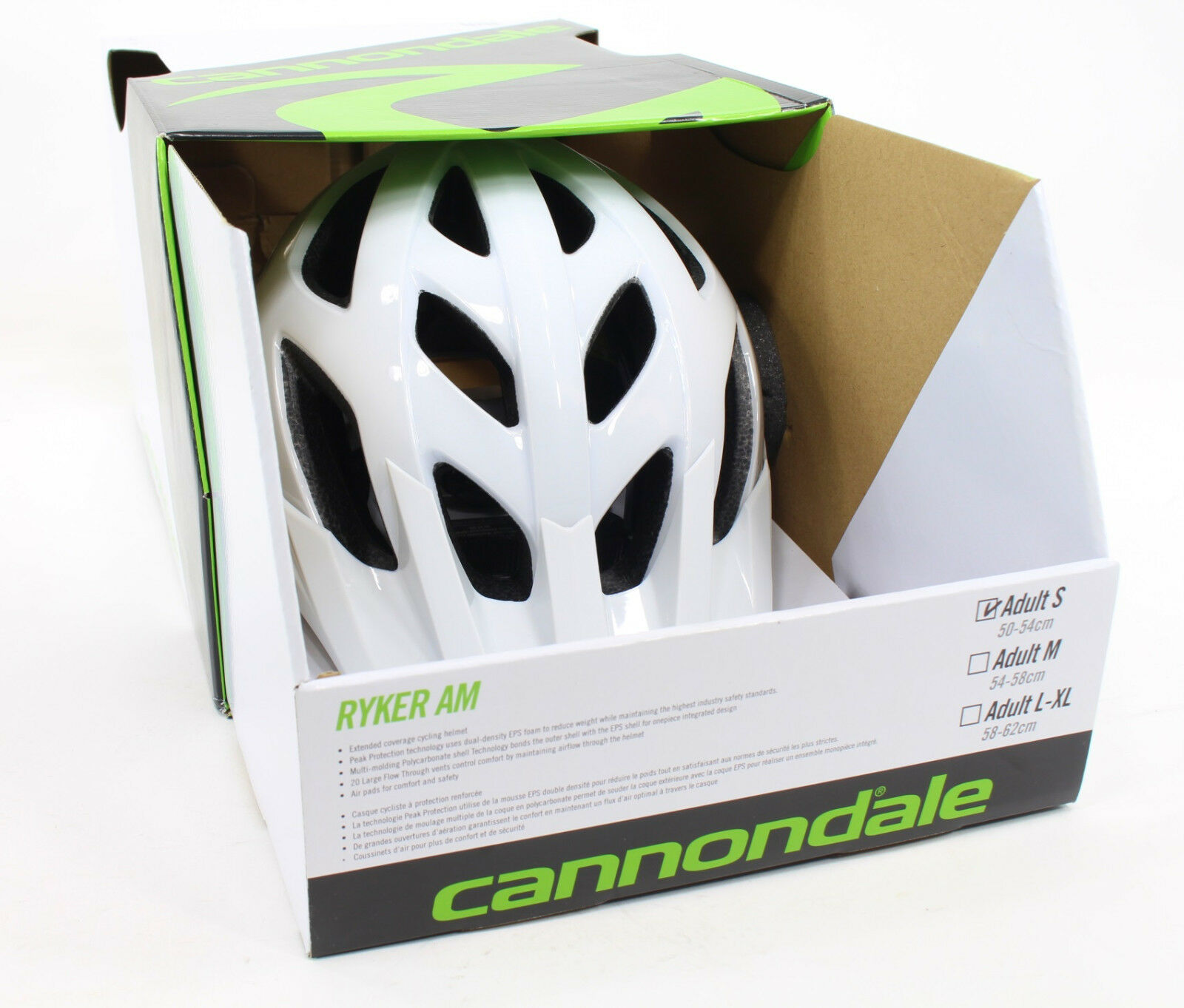 Cannondale Ryker AM Bicycle Helmet, White, 50-54cm Small