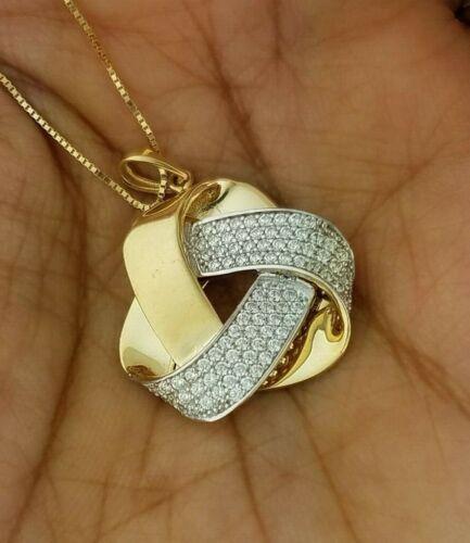 0.10 CT 14k or Jaune Love Knot pendentif breloque pour collier grand gros lourd
