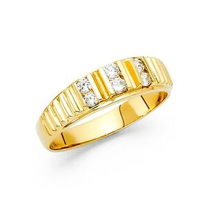 Cz Mens Wedding Band Solid 14k Yellow Gold Engagement Ring Fancy