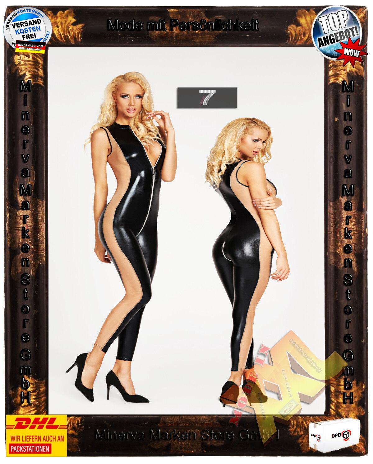 Erotisches schwarz beiges Wetlook Catsuit 7-Heaven Dessous Tüll Reißverschluß