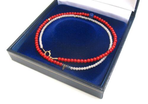 Or 14k Perles Corail Rouge Lapis SAPHIR BLEU HAMSA bracelet charme Chance Charme Neuf