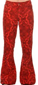 Homme Rétro Vintage 60/'S70/'S style bellbottom évasée Rouge Paisley cordons