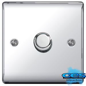 BG Nexus NPC81P Polished//Mirror Chrome Single Dimmer Switch 1 Gang 2 Way