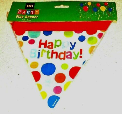 Party Banner Decor Happy Birthday Colorful Dots Printed Flags Sturdy Plastic NIP