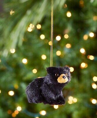 woodland animal home decor black bear furry woodland animal christmas tree ornament cabin  woodland animal christmas tree ornament