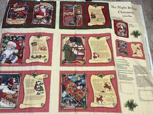 The Night Before Christmas Fabric Book Panel Cut Sew By Susan Winget Cp50018 Ebay
