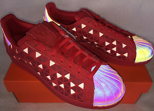 Image is loading Adidas-Superstar-Xeno-AQ8181-Reflective-Red-Casual -Basketball-