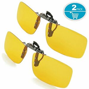 723508cfa2 Image is loading Yellow-Night-Vision-Nighttime-Glare-Driving-Aviator-Clip-