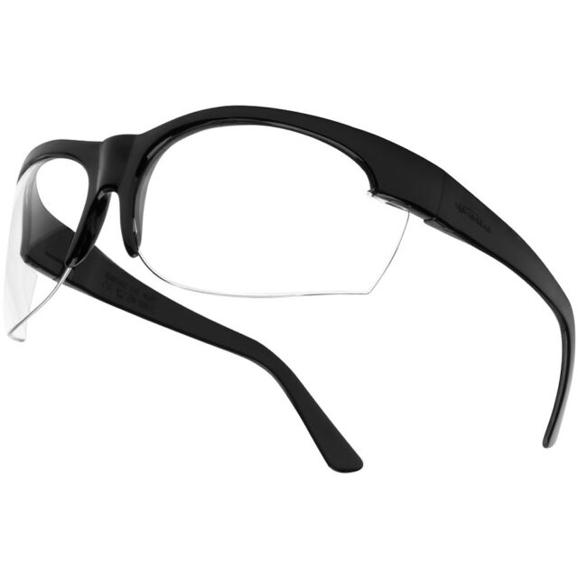 BOLLE TRACKER II SAFETY SPECTACLES TACTICAL SMOKE GLASSES BLACK FRAME HEADBAND