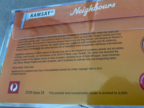 Mint Uncirculated Neighbours Ramsay St 2019 Australian $1 Coin /& Stamp Set PNC