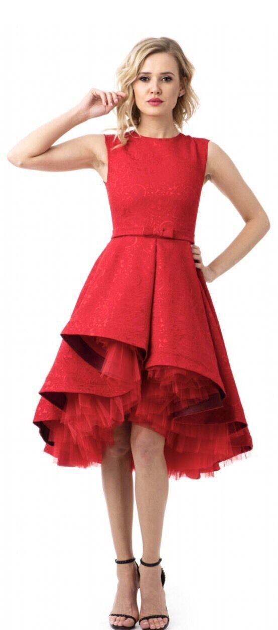 High end boutique rot cocktail prom bridesmaid dress Large