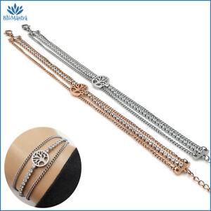 Bracciale da donna tennis con albero della vita braccialetto in acciaio inox per