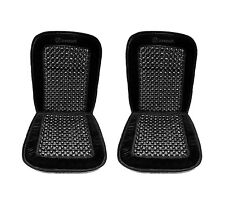 Zone Tech 2x Black Velvet Car Wooden Bamboo Beaded Seat Chair Massage Cushion