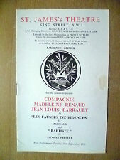 ST. JAMES THEATRE: JEAN-LOUIS BARRAULT in LES FAUSSES CONFIDENCES and BAPTISTE