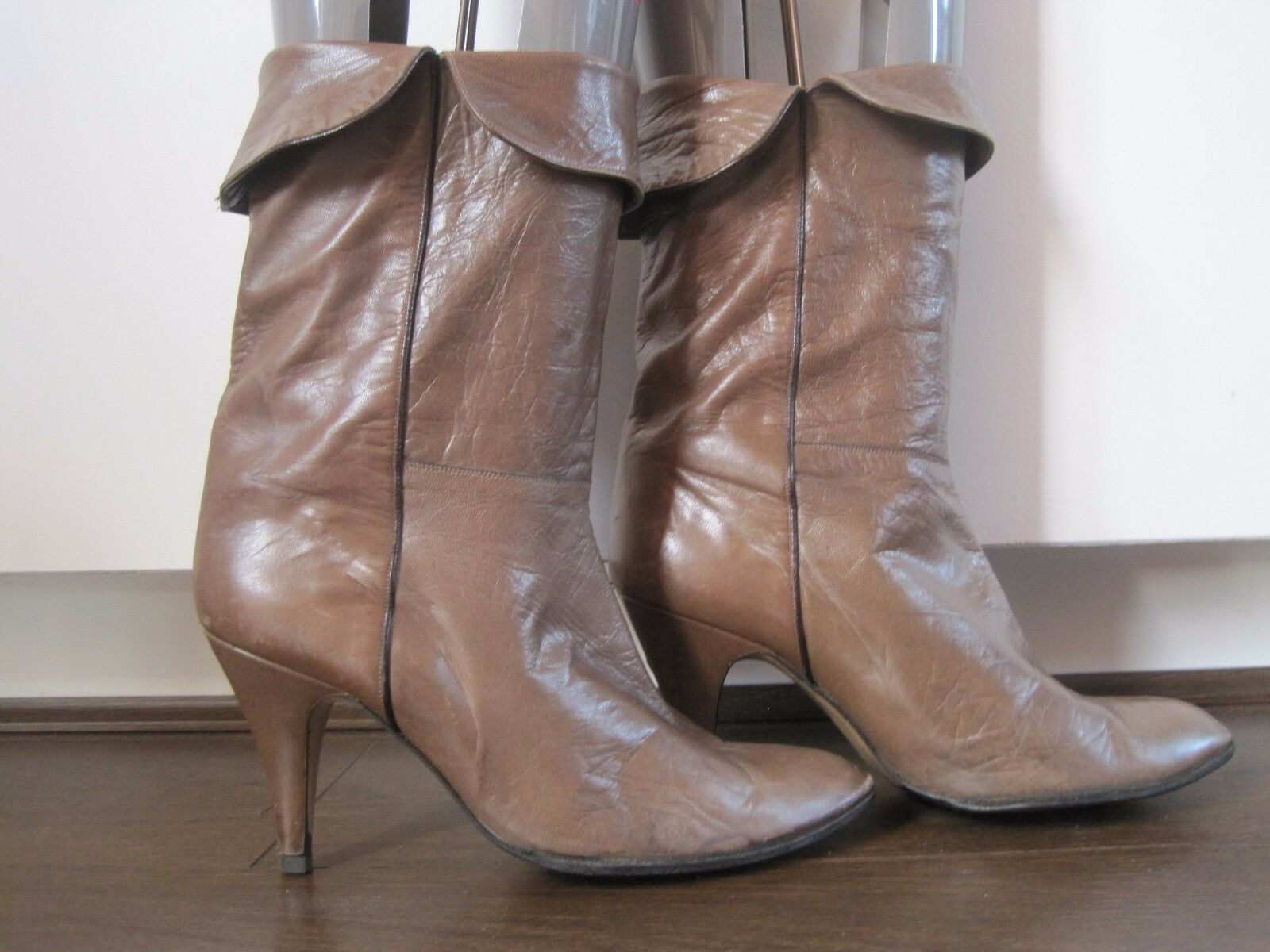WOMEN'S tan butter soft leather mid calf pirate style boots sz US 7.5 UK 5.5