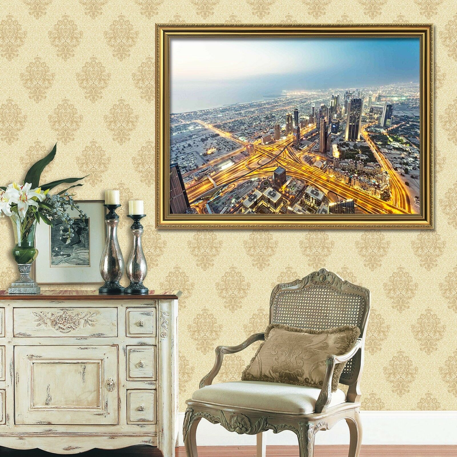 3D bella ciudad 5 Póster Enmarcado Decoración del Hogar Pintura de Impresión Arte AJ Wallpaper