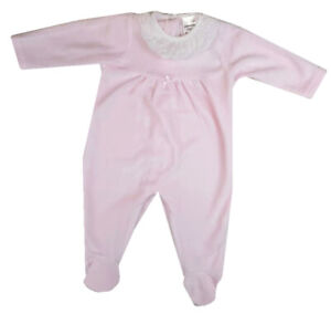 All In One Spanish Style Baby Girl Pink Velour Babygro Sleepsuit Outfit.