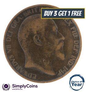 1902 à 1910 edward vii penny/pennies choix de l'année/date