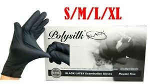 100PCS Black Disposable Latex Gloves Tattoo Food Cleaning Use S/M/L/XL