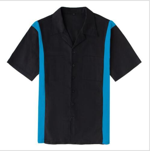 Mens Vintage Bowling Shirt Rockabilly Clothing Hip Hop Shirts Black/&Blue