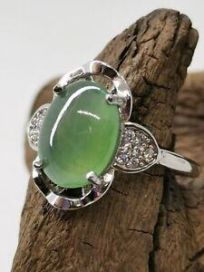 Translucent Icy Ice Green Burmese Jadeite Jade Ring/冰晴绿天然缅甸翡翠戒指/ナチュラルビルマ翡翠リング