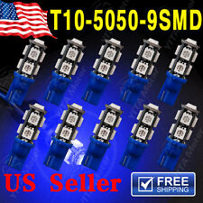 10 X Ultra Blue T10 Wedge 5050 9SMD LED Light 192 168 194 W5W 2825 158 12V US