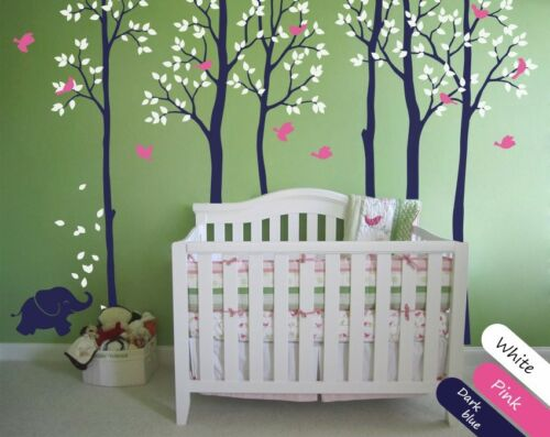 Large tree set for baby nursery Tree wall decal with elephant and birds stickers