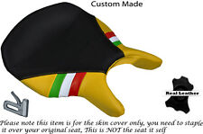 BLACK & YELLOW LEATHER ITALIAN FLAG CUSTOM FITS DUCATI 999 749 RIDER SEAT COVER