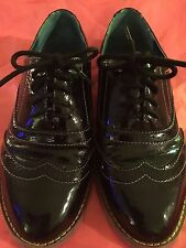 GIRLS LONDON REBEL BLACK Oxfords SIZE 7 Casual dress shoes laces shinny