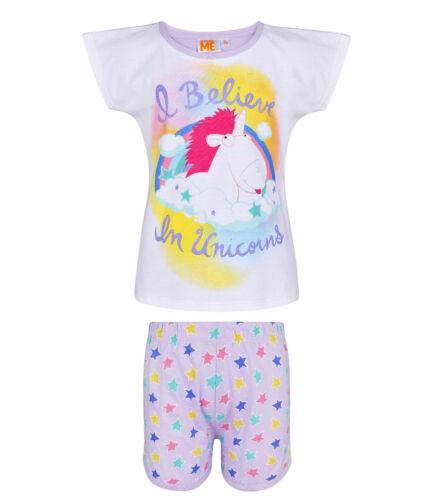 Girls Official Character Various Short Manche Summer Pyjamas Pjs 5-12 Years