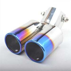 Twin-Dual-Exhaust-Trim-Double-TIPS-Muffler-Pipe-Chrome-Tail-Straight-Blue-Color