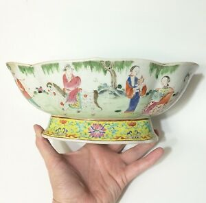 Jiaqing-Famille-Rose-Oval-Lobed-Bowl-Signed-1800-Chinese-Qing-Dynasty-Old-Repair