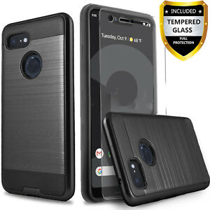 the best attitude 955ea f02f0 Details about For Google Pixel 3 / Pixel 3 XL Case, Shockproof Cover  +Tempered Glass Protector