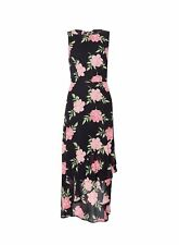 Dorothy Perkins Womens Black Floral Print Hi Lo Maxi Dress Round Neck Sleeveless