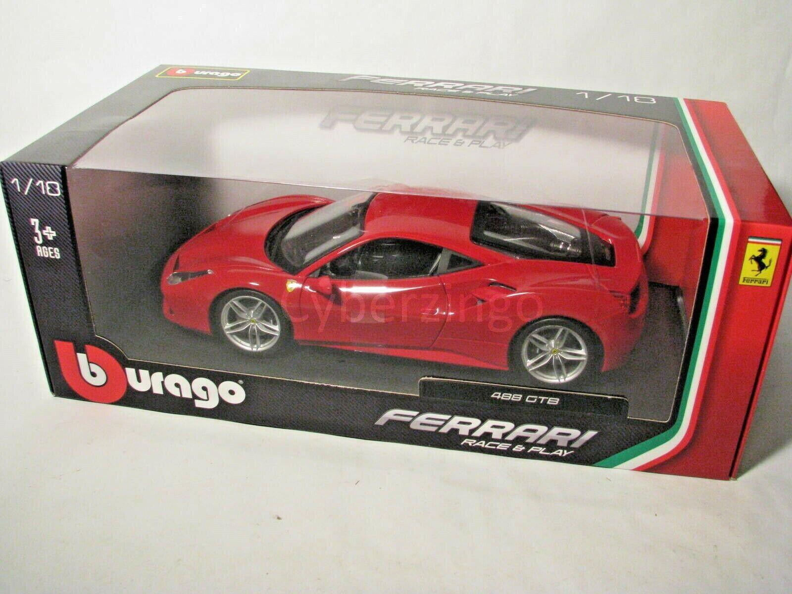 Bburago 1 18 rot Ferrari 488 GTB Race And Play Diecast Model Car 18-16008