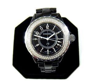 Details About Chanel Paris J12 Diamond Bezel Black Ceramic Bracelet Watch 38mm Case 7 Wrist
