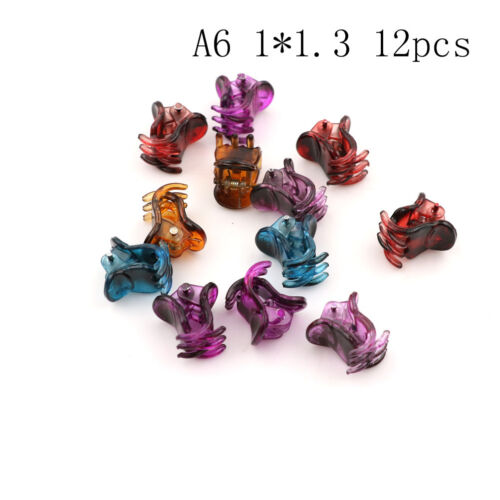 12pcs Small Plastic Black Hair Clips Claws Clamps GBUK