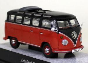 Premium-ClassiXXs-1-43-Scale-13860-VW-T1-Samba-Red-Black-Diecast-Model-Van