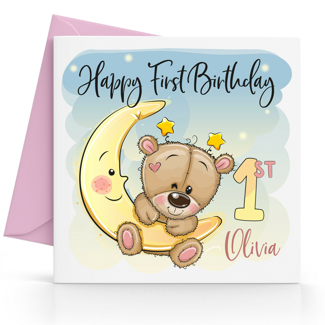 M2 FEMALE AGE 1 ONE BIRTHDAY CARD,****PINK TEDDY BEAR***