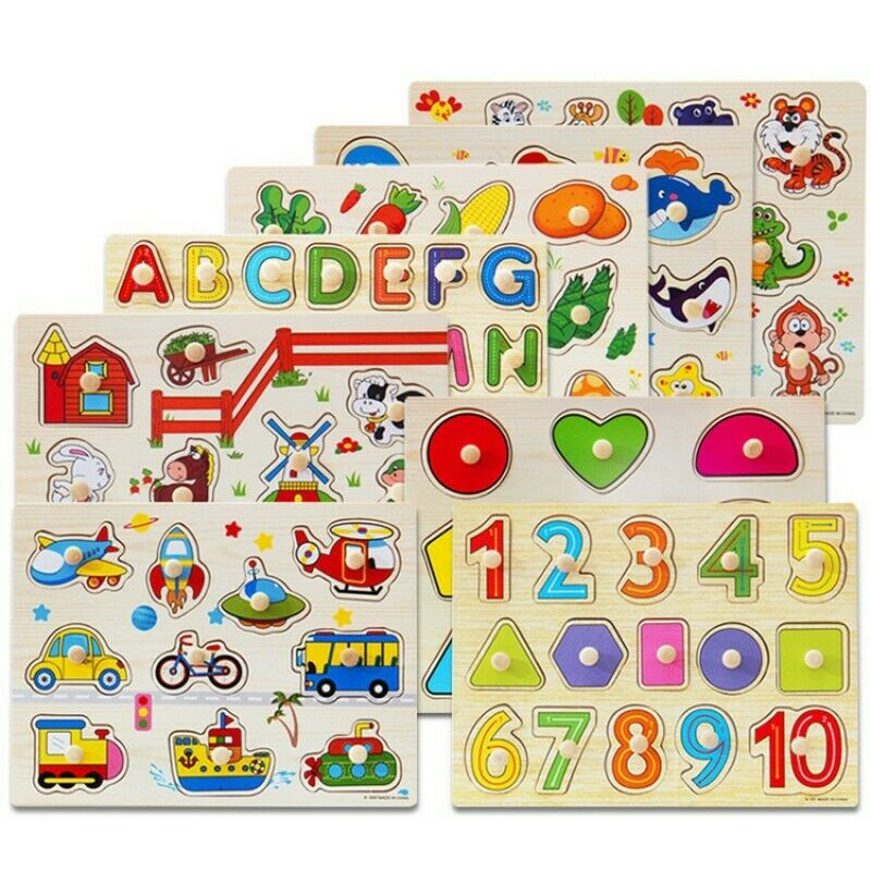 Alphabet/ Number Puzzle Kid Learning Wooden ABC Letters Pre School Educational 6