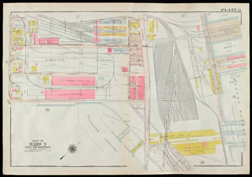 NORTHERN AVENUE ATLAS MAP MA COMMONWEALTH FISH PIER WEST 1ST 1910 SOUTH BOSTON