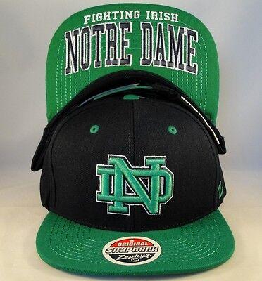 Notre Dame Irish NCAA Zephyr Snakeskin Strapback Hat Cap Black Rattler
